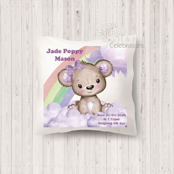 Rainbow Bear Violet Baby Girl Stats Keepsake Cushion